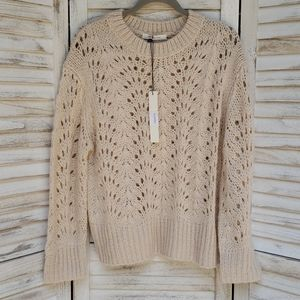 Mustard Seed Cream Knit Crew Neckline Sweater